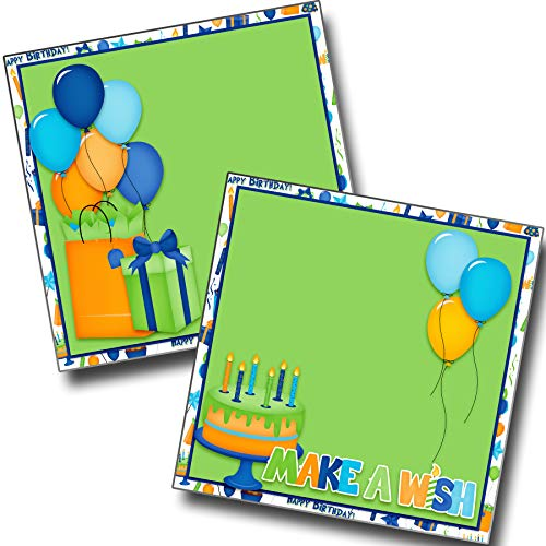 Make a Wish Green NPM - Birthday - Premade Scrapbook Pages - EZ Layout 3855 -