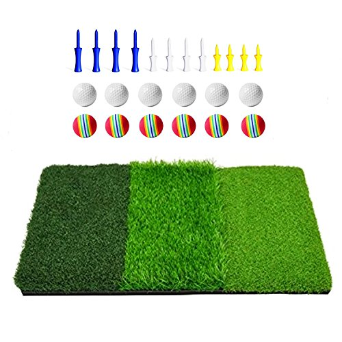 DACTECH 3 in 1 kit Portable Tri-fold Golf Hitting Practice Mat with Rubber Bottom, with 12 Bonus Balls and 12 Plastic Tees