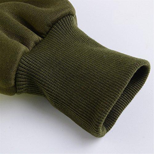 Szivyshi Pulsante Verde Cappuccio Spessore Asimmetrica Con Maglietta Asimmetrico Lato Militare Felpa Pieno Caldo Cotone Superiore Allineato Zip Felpa rFrRcq