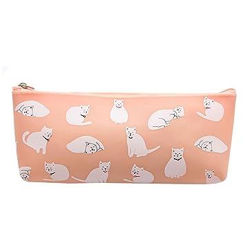 Laat - Estuche escolar gatos, estuche para bolígrafos, bolsa de almacenamiento para cosméticos y suministros de oficina y papelería 3 x 8x 19,5cm Rose: ...