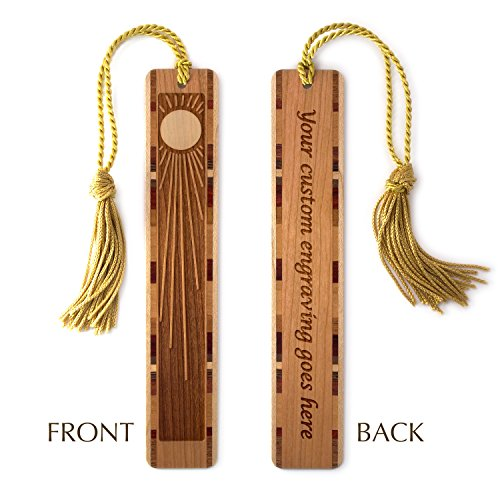 Personalized Sun Rays Engraved Wooden Bookmark with Tassel - Search B011PIVDV0 to see non personalized version