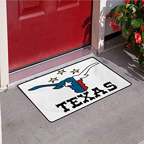 Jinguizi Texas Star Universal Door mat Doodle Style Buffalo Head with Horns Texas Flag and Vintage Letters Cowboy Theme Door mat Floor Decoration W29.5 x L39.4 Inch Multicolor -