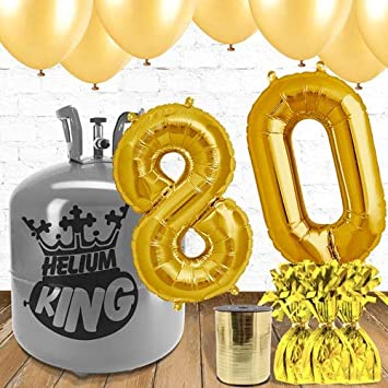 80th Birthday Gold Balloons And Helium Gas Package Amazoncouk Toys Games