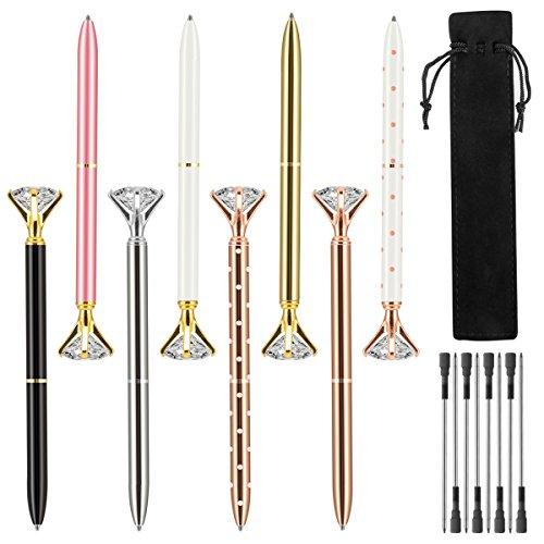 ANPHSIN 8 Pieces Crystal Diamond Pen- Ballpoint Pen, Include 8 Pieces Ballpoint Pen Refills and Black Velvet Bags
