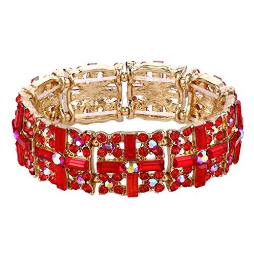 EVER FAITH Women's Austrian Crystal Art Deco Cross Elastic Stretch Bracelet Red Gold-Tone