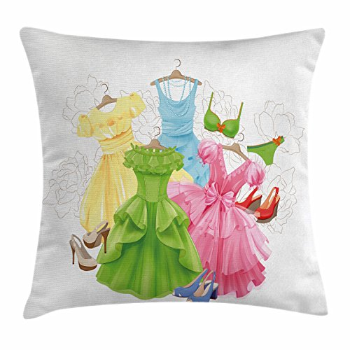 Saloon Girl Costume Party City (Heels and Dresses Throw Pillow Cushion Cover by Ambesonne, Princess Outfits Bikini Shoes Wardrobe Party Costumes in Girls Design, Decorative Square Accent Pillow Case, 36 X 36 Inches, Multicolor)