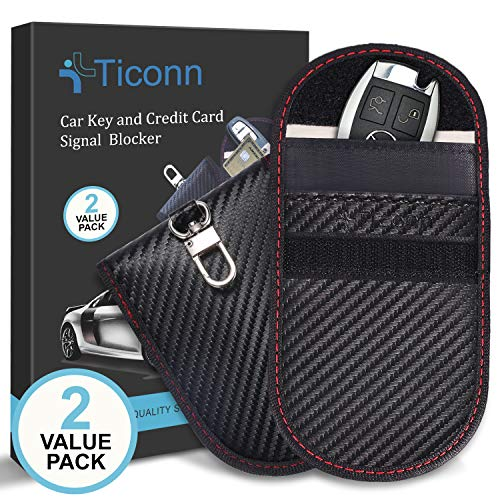 Upgraded Faraday Bag for Key Fob (2 Pack), TICONN Premium Faraday Cage Car Key Protector – RFID Signal Blocking, Anti-Theft Pouch, Anti-Hacking Case Blocker (Carbon Fiber Texture)