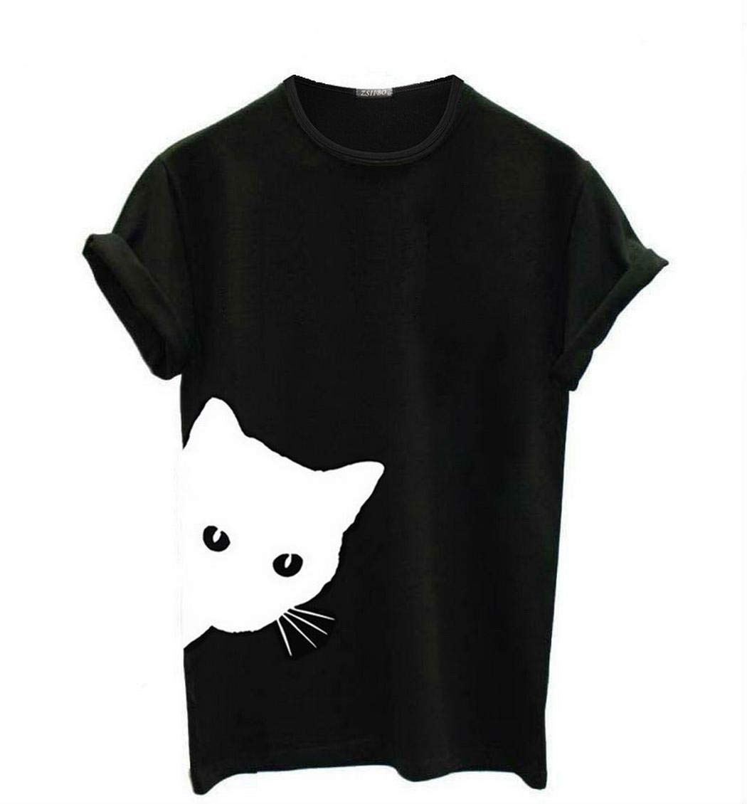 yagot Damenmode Animal Print Kurzarm Basic T-Shirt Sommer Top T-Shirts