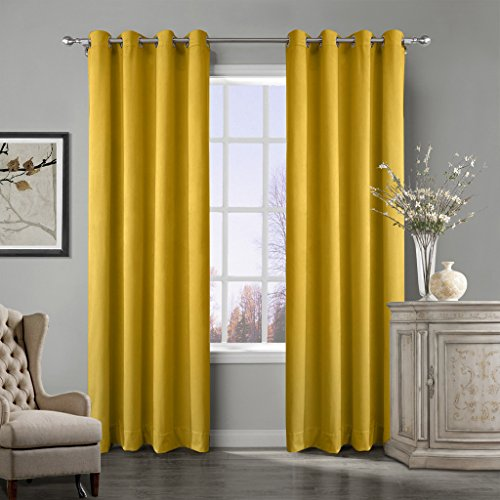 COFTY Super Soft Matt Luxury Velvet Curtain Drape Yellow 50Wx84L Inch(set of 2 panels) - Nickle Grommet - BIRKIN Collection Classroom| Theater| Bedroom| Living Room| Hotel by COFTY (Image #4)