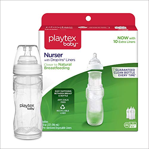 Playtex Baby Nurser Baby Bottle with Drop-Ins Disposable Liners, Closer to Breastfeeding, Gift Set ()