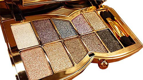(Glitter Eyeshadow Palette,10 Colors Sparkle Shimmer Eye Shadow Highly Pigmented Long Lasting Makeup Set Gold(Type)