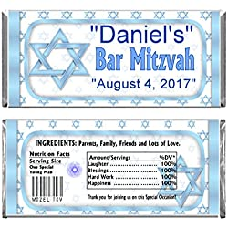 Blue Bar Mitzvah Personalized Custom Birthday Party Chocolate Candy Bars WRAPPERS & Foil Set of 24