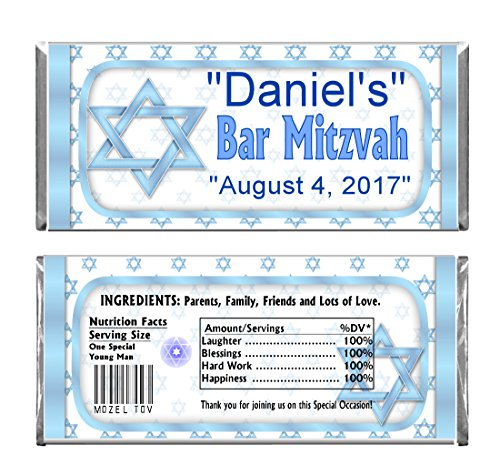 - Blue Bar Mitzvah Personalized Custom Birthday Party Chocolate Candy Bars WRAPPERS & Foil Set of 24