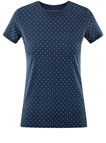 Blu T Shirt 7912q Ultra Scollo oodji con Stampata Rotondo Donna AqERxZ8