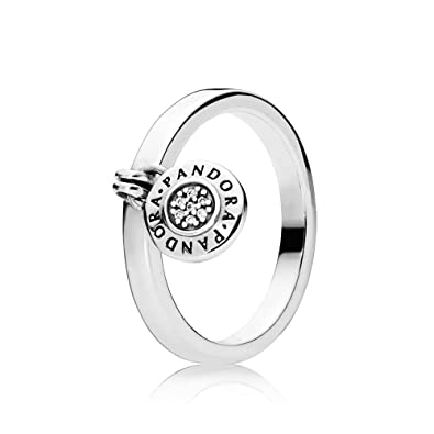 cdf0a1014 PANDORA Signature Logo Padlock Ring, Sterling Silver And Clear CZ, 197400CZ  (48)