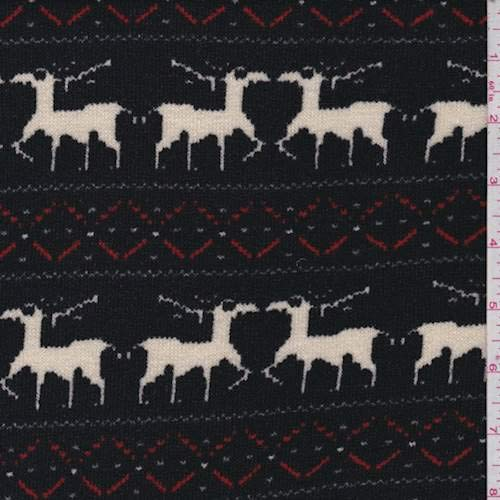 Black Reindeer French Terry Sweater Knit, Fabric by The -