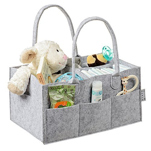 Baby Diaper Caddy Organizer - Nursery, Changing Table, Car Storage   Perfect Baby Shower or Registry Gift by Brave Baby