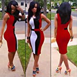 Ulike2 4 Colors European Style Sexy Ladies Bodycon Short Sleeves Party Dress for Women (XL, Red)
