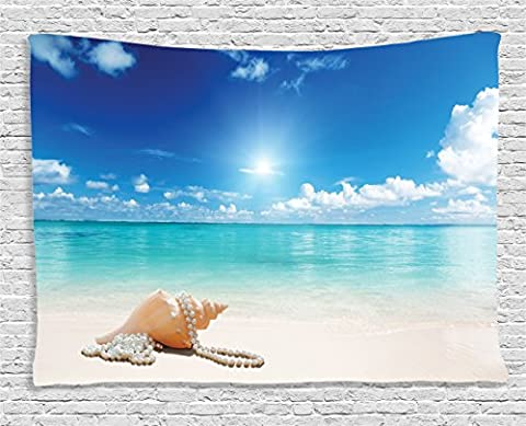 Seashells Decor by Ambesonne, Pearls on Sandy Beach Tropical Ocean Decorations for Work Dreamiest Coastal Charm Image, Bedroom Living Room Dorm Wall Hanging Tapestry, 80 X 60 Inches, Turquoise - Mother Of Pearl Wall Art