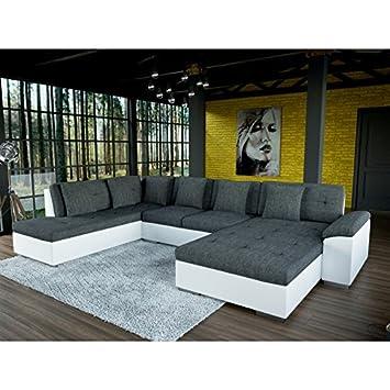 Canapé panoramique en U SMILE tissu gris et simili cuir blanc