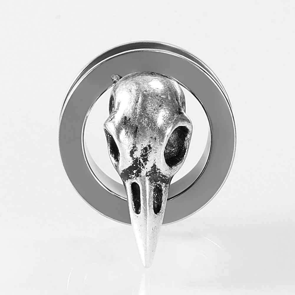 1 inch TBOSEN 2 pcs Stainless Steel Tunnel Bird Skull Ear Plugs Tunnel Expander Gauges Piercing Expander Large Gauges 2g
