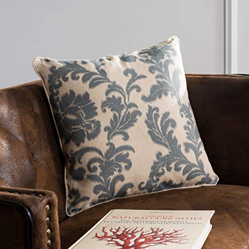 Safavieh Pillow Collection 18-Inch Acanthus Leaves Pillow, Ivory and Slate, Set of 2 -