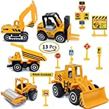 ZOHUMI Construction Toys Sets, 5 Pieces Mini Vehicles, Including Truck Forklift Bulldozer Road Roller Excavator Dump Truck Tractor,Free-Wheeling Cars for Children
