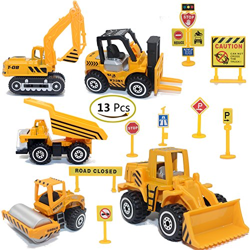 Construction Toys Sets, 5 Pieces Mini Vehicles, Including Truck Forklift Bulldozer Road Roller Excavator Dump Truck Tractor,Free-Wheeling Cars for -