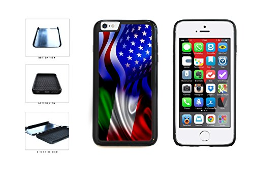 Italy and USA Mixed Flag Dual Layer Phone Case Back Cover Apple iPhone 6 6s (4.7 Inches) includes BleuReign(TM) Cloth and Warranty Label