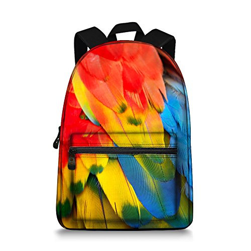 Jeremysport Beauty Parrot Feather Canvas Campus Backpack