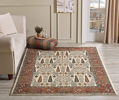 Golden Rugs Gabbeh Collection Persian Area Rug Brown Hand Touch Vintage South West Carpet Traditional Texture for Bedroom Living Dining Room ()