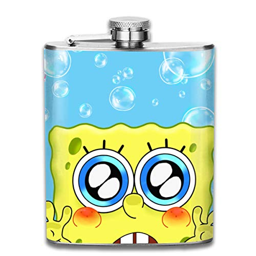 CFECUP Stainless Steel Flask Spongebob Enjoy Bubble Wine Bottle with Lid Leak Proof 7 Ounce