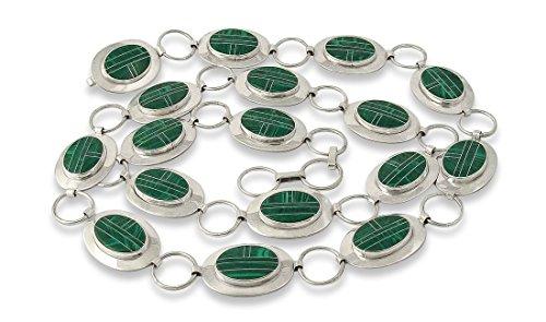 Silver Link Concho Belt (Navajo Silver Malachite Inlay Link Concho Belt)
