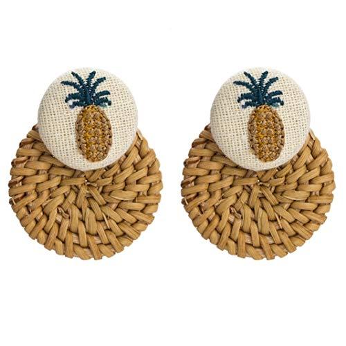 (Embroidery Pineapple Stud Earrings for Girls Women Ear Decoration Wedding Party Jewelry Gift Pendant Earrings)