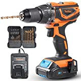 "VonHaus 20V MAX Cordless 1/2"" Hammer Drill Driver with Variable Speed 0-1650 RPM, LED Light and 15 Drill Accessory Bits - 2.0Ah Battery and Charger Kit Included"