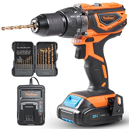 VonHaus 20V MAX 1/2'' Cordless Lithium-Ion Drill Driver with Hammer Function, Keyless Chuck, Variable Speed Trigger, LED Light, 15pc Bit Set - 2.0Ah Battery and Charger Kit Included by VonHaus