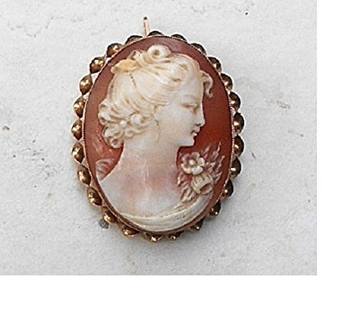 - Antique 10 KT Gold Cameo Marked, Beautiful Colorful Hand Carved Shell Cameo w/ flowers, 10K Gold Twisted Rope Bezel Brooch/Pendant.