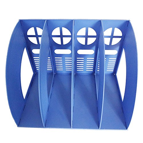 tongbifa Starsource Office School Home Desk Plastic Magazine Literature File Holder Rack Case Box Crate Organizer,4 Slots,blue (4 slots) - Plastic Rack Case