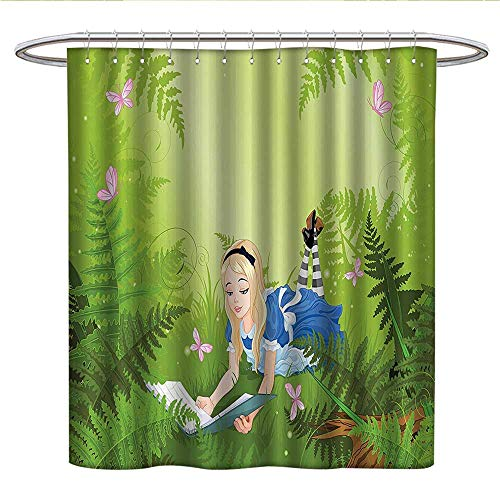 (Anshesix Alice in Wonderland Decorations CollectionUnique Shower curtainWonderland Alice Reading Book Forest Butterfly Nature Magic Lovecute Shower curtainGreen Pink Blue)