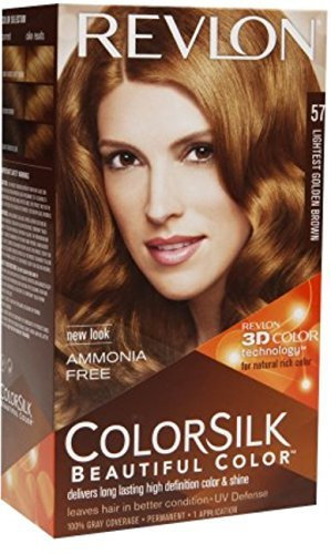 Revlon ColorSilk Beautiful Color Permanent Hair Color, 57 Lightest Golden Brown 1 Each (Pack of 5)
