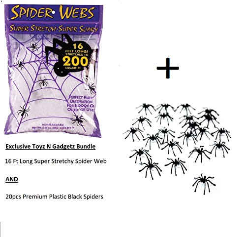 Super Stretch Spider Web (16 Feet) and 20pc Creepy Spider Halloween Decoration Bundle by Creepy Creations - Make that perfect Halloween Scare!!