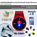 MICROMOB BAR-03 Bluetooth 4.0 Clip Stereo Bluetooth Audio Receiver/Adapter with Mic for Earphone/Headset/Speaker. Hands-Free Calls/Music. [Ideal for Smartphone/iPhone 7,8 with no Audio Jack] (Red)
