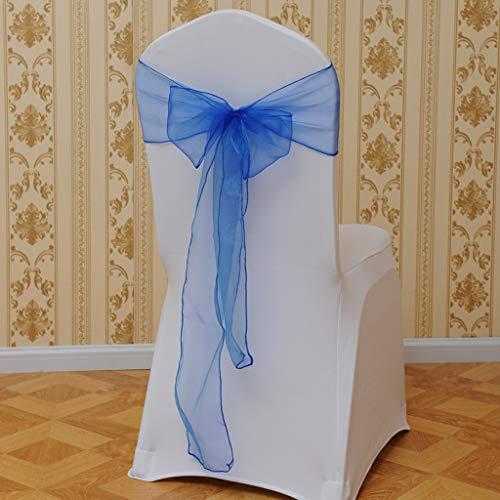 Gotian Flower Bow Chair Back Cover Net Sash Back Ties Elegant Party Decor Multi-Color - Chair Sash Decorations - Chair Back Fower(15x275cm) (Blue)