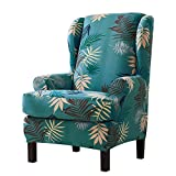 Subrtex 2 Piece Leaves Printed Stretch Wingback Chair Slipcovers (Wing Chair, Green)
