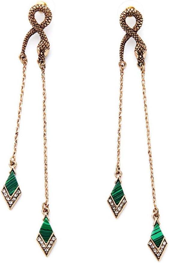 AnoJm Pendientes de Borla con tachas de Serpiente Vintage para Mujer con Orejas Perforadas hipoalergénicas para joyería Libre de níquel Ideal para Regalar (Color : Verde, tamaño : Free Style)