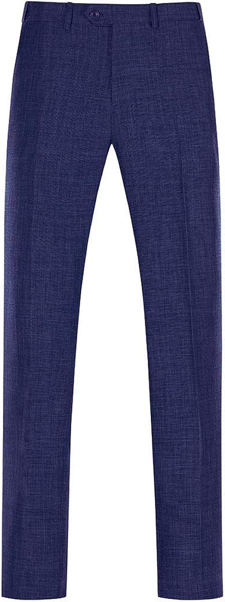 YUNCLOS Men's Linen 3 Piece Suit Set 1 Button Blazer Jacket & Vest & Pants for Wedding Navy