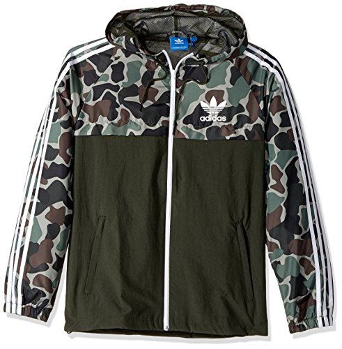 adidas Originals Men's Originals Reversible Windbreaker, Black/Grey Camo, S