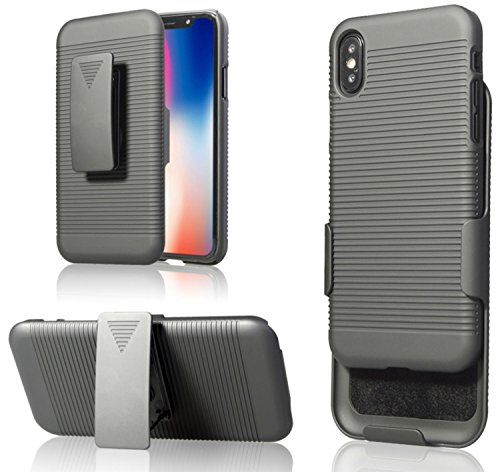 Price comparison product image Zuzo iPhone X Belt Case With Rubberized Ribbed Texture and Swivel Belt Clip Kickstand for iPhone X / 10 (2017) (Black)