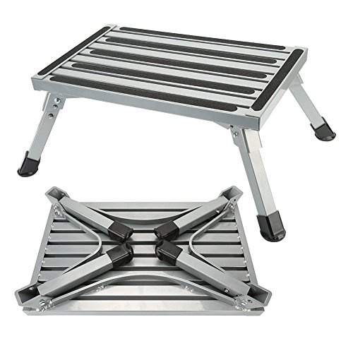 Step Stool Folding Aluminum RV Step Platform with Anti-slip Surface Sturdy Lightweight Maximum Load is 550 LB Perfect as RV Motorhome Trailer SUV Camper Extra Step by NORDSD