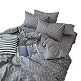 BuLuTu Chevron Geometric Print Boy Bedding Duvet Cover Sets Full Grey Egyptian Cotton,Hotel Bedding Collections Comforter Cover Queen Kids Adults Men Women Zipper Closure,Cozy,Modern,No Comforter